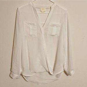 Maeve (Anthro) Cross Front White Blouse